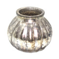 Silver Antique Glass Candle Round