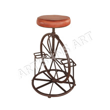 Antique Bar stool with Papped Leather Seat