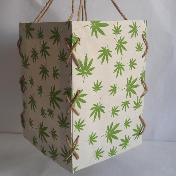 100% hemp paper printed hemp leaves lamp