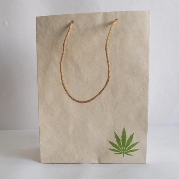 100% Hemp paper printed jute string handle bags