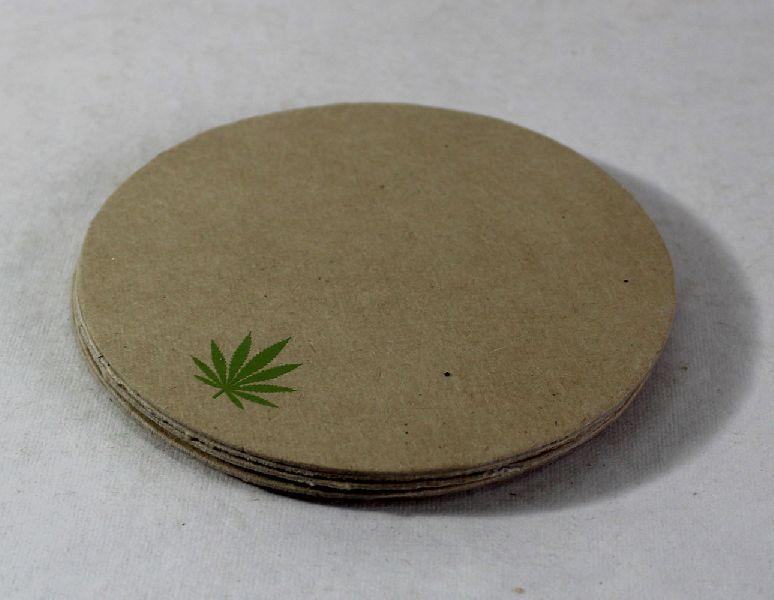 100% hemp paper while a hemp leaf printed tea coasters
