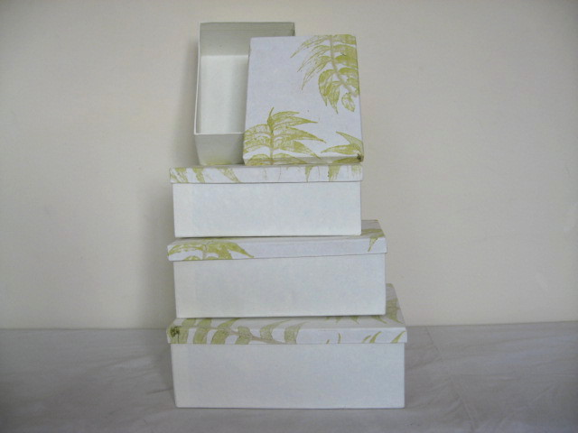 card board and leaves impressions box