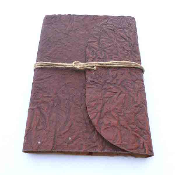 Crinkled thin goat leather brown shade journal