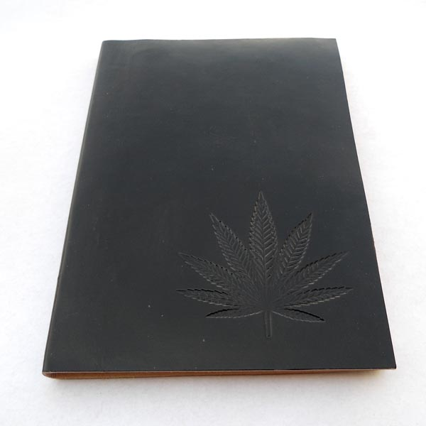 Hand bound goat leather journal in black color