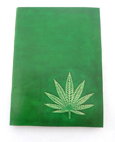 Hand bound goat leather journal in green colour
