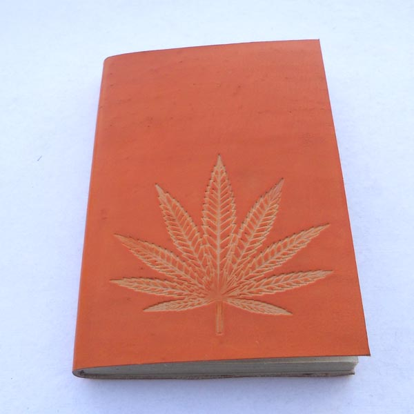 Hand bound goat leather journal in orange colour