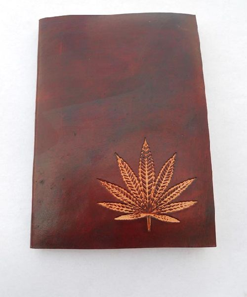Hand crafted hemp leaf embossed front cover leather journal