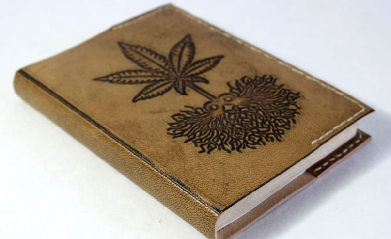 Hand stitched hemp goat leather refillable journal antique