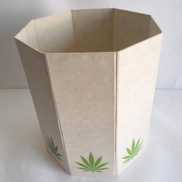Hemp paper printed collapsible dustbin