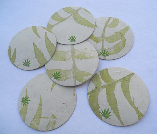 Hemp printed paper real natural leaves impression  coasters