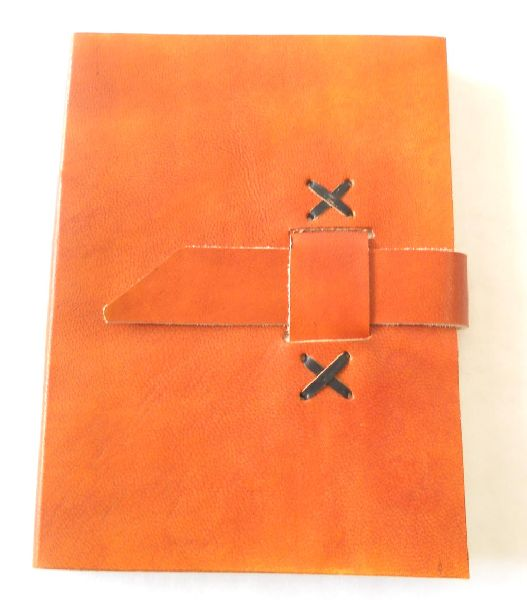 Orange color ethnic style goat leather journal