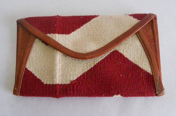 Withe and brown hand woven cotton kelim / dhurries clutches