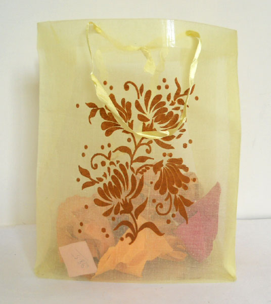 Yellow color with brown flock print organza fabric bag
