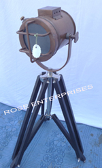 Antique Vintage Nautical Mini Table Wooden Tripod spot light