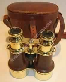 Brass Binocular with Leather Cover