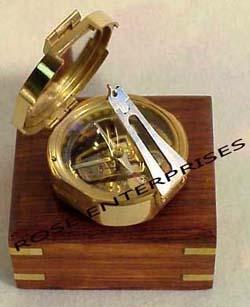 Brass Brunton Compass With Wooden Box