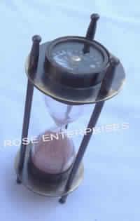 Brass Compass Sand Timer
