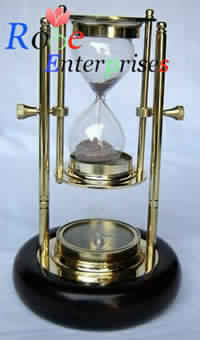 Brass Hanging Sand Timer with Wooden Base