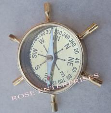 Brass Marine Ship Wheel Desk Compass