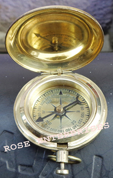 Brass Push Button Pocket Compass