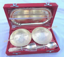 Brass Utensil set Tray and Bowls (Gold Color)