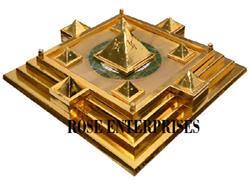 Brass Vastu Pyramid Plate (Gold Plated)