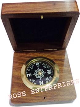 Brass Wooden Compass