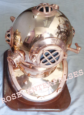 Mark IV Diving Helmet with Wooden Base