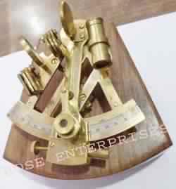 Nautical Brass Marine Sextant W/ Wooden Box