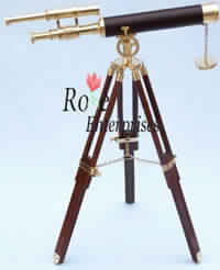 Nautical Double Barrel Telescope with Tripod Stand