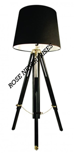 Nautical Tripod Floor Lamp with Black Shade