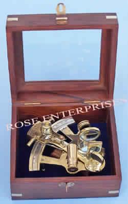 Nautical Vintage Brass Sextant W/ Box
