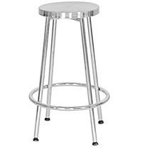 IRON ANTIQUE NICKLE PLATED ROUND BAR STOOL