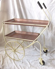 Iron metal antique copper service trolly