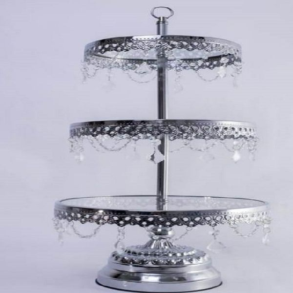 3 Tier Silver Cake Stand Manufacturer