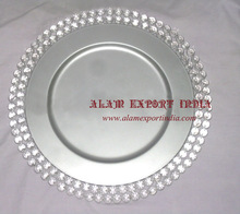 crystal beaded charger plate