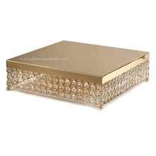gold crystal beads cake stand