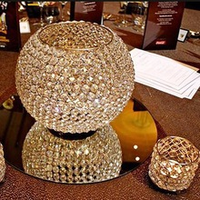 Gold crystal centerpiece candle holder