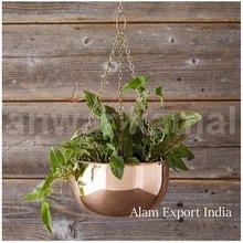 hanging metal planter copper