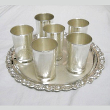 Silver Plated Glass and Tray