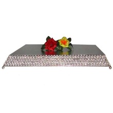 square crystal beads cake stand