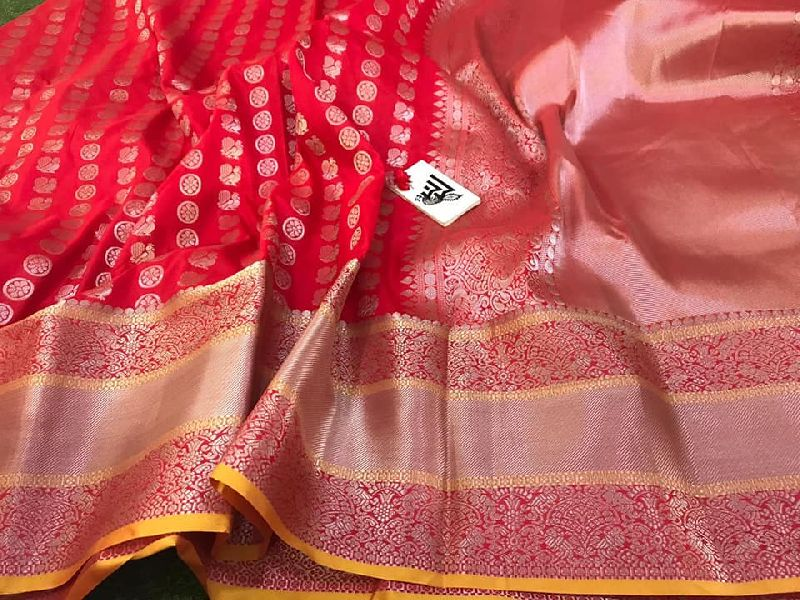 Blended silk sarees with kanchi weaving and blouse
