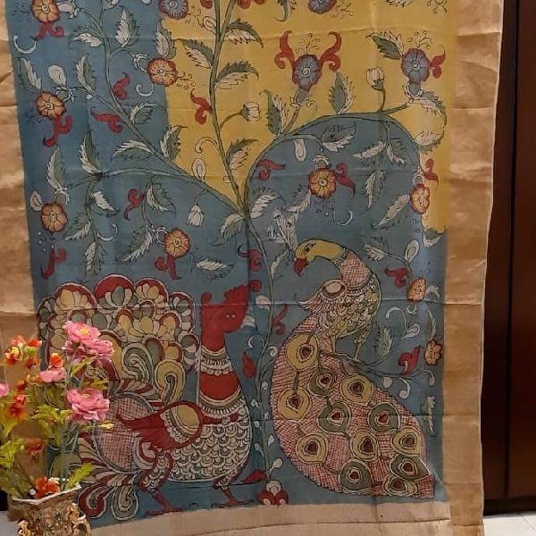 elegant Tussar Silk Hand painted kalamkari Sarees