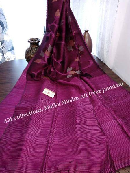 half matka half muslin floral jamdani sarees with blouse