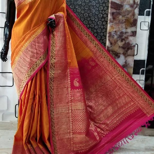 handwoven gadwal DUPION SILK sarees with contrast pallu and blouse