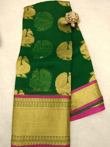 Kanchi organza silk Saree with contrast border and brocade blouse