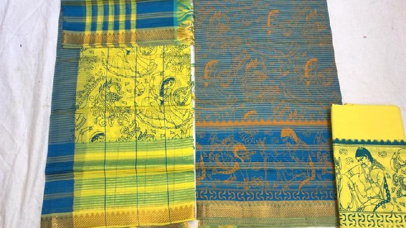mangalagiri hand printed pattu dress materials