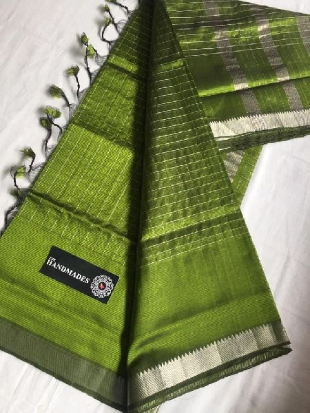 Mangalagiri Handloom Cotton Silk silver Jari Checks Sarees