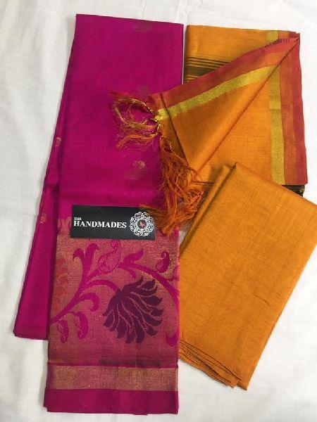 Pure Handloom Mangalagiri Cotton Silk Dress Materials