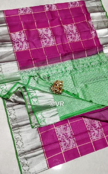 Pure kanchi kora sarees with silver weaving checks with step wise brocade and blouse